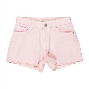 Maje Scalloped Pink Denim Shorts